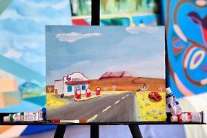 original-acrylic-on-board-painting-art-SIGNED-landscape-native-folk-style