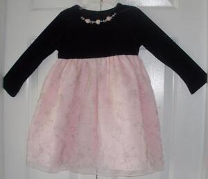 Good Lad Girls Black Velour Pink Organza L S Easter