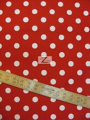 "45/"" W SOLD BTY FH-58 POLKA DOTS WHITE DOTS ON RED 100/% COTTON FABRIC .75/"" DOTS"