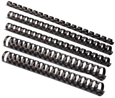 10 Plastikbinderücken 12 mm 21 Ringe schwarz Binderücken