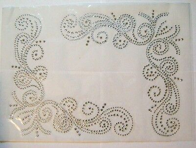 SET / BLANKET TWO CORNERS DESIGN RHINESTONE IRON ON APPLIQUE / FIX HOT  TRANSFER