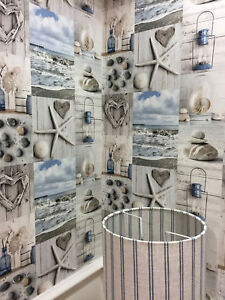 Beach Wallpaper Nautical Bathroom Pebbles Love Hearts Blue Grey Image