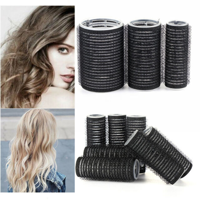 4/6/8x Self Grip Rollers Cling Stick Hair Curler Curls Wave Styling Salon Tools