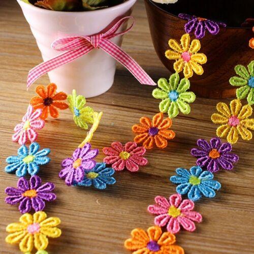 New Embroidered Lace Trim Applique Headband Dress Craft 1 Yard//33 Flowers DIY