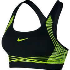 Nike Pro Hyper Classic Padded Medium Support Dri-Fit Sports Bra Black Volt Sz L