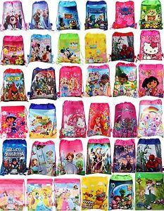 Boys-Girls-Drawstring-PE-Gym-Toy-Beach-Party-Book-Bag-Avengers-Minions-Frozen
