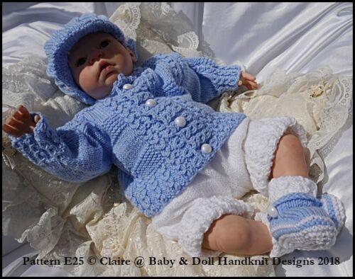 "BABYDOLL HANDKNIT DESIGNS KNITTING PATTERN E25 BABY TOMMY 16-22/"" DOLL//0-3M BABY"