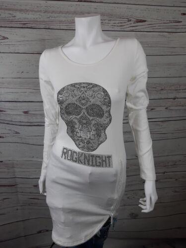 Damen Pullover New Strass Totenkopf Skull weiß Longsleave  S//XL Neu Oberteil