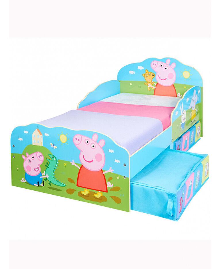 Original Peppa Pig Enfant-Lit Lit Bébé Juniorbett holzBett NEUF + bettkasten