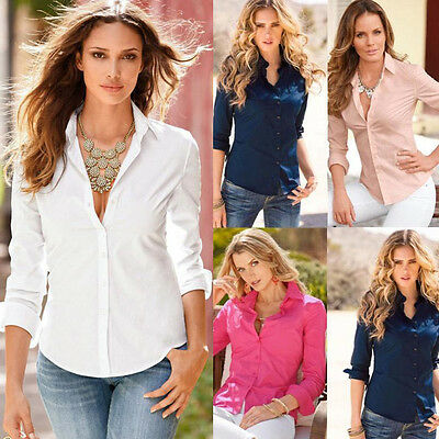 Womens Ladies Long Sleeve Cotton Blend Casual Office Loose Shirt Top Blouse New