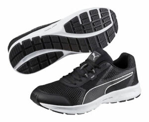 ea5cb447b2ce Men s Puma Essential Runner Black   Silver Running Shoes Trainers UK ...