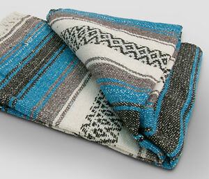 #11 Turquoise Mexican Falsa Blanket Great Beach Picnic Yoga Mat Sarape Bed Throw