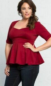 Kiyonna-Womens-Top-Red-Poshe-Ponte-Peplum-Style-1X-Made-In-USA-14-16-Empire