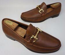 Salvatore Ferragamo Mason Bit Pebbled Brown Leather Loafers Size 11 EE 2E