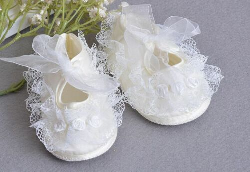 Elegant Flower Girl Lace Baptism Pram Shoes New Born Baby Tutu Christening Shoes