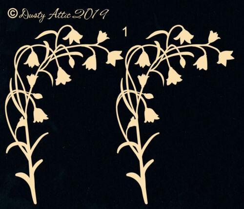 Dusty Attic Chipboard Scrapbook Embellishment BLUEBELLS 1 DA2572