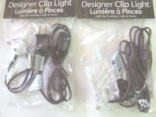 2 Single Clip Light C7 Bulb On Off Switch Brown Cord Christmas Villages New