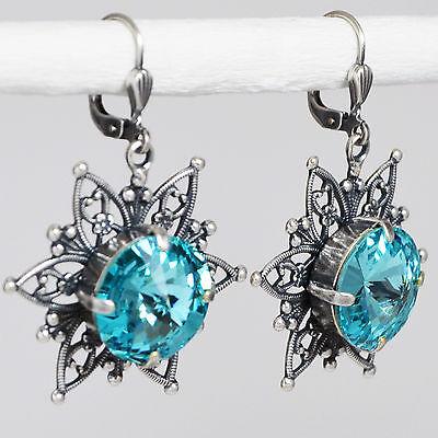 Grevenkämper Ohrringe Swarovski Kristall Rund Verzierung Vintage blau Turquoise