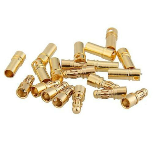 10 Paare 3.5mm Gold-plated Bullet Banana Plug Connector for RC Motor ESC Battery