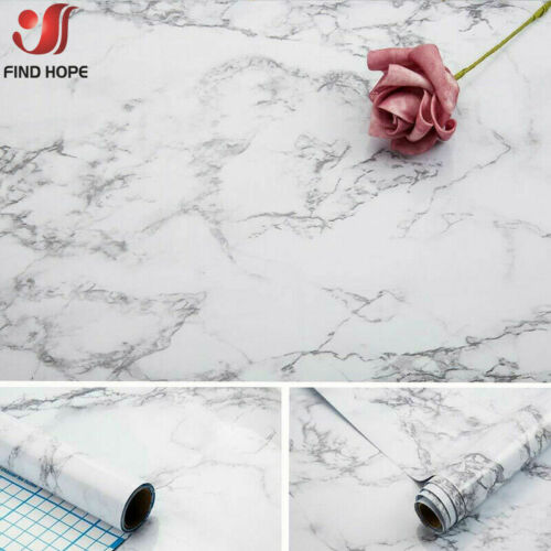 Gray Marble Film Wallpaper Self Adhesive Countertops Contact Paper Wall Stickers