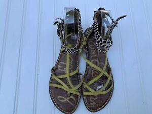 SAM-EDELMAN-Gable-Gladiator-Ankle-Multi-Strap-Yellow-Animal-Print-Sandal-Zebra-6
