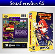 SEGA 32X : KNUCKLES CHAOTIX. COVER PRINTED + CASE / BOX. NO GAME. MULTILINGUAL.