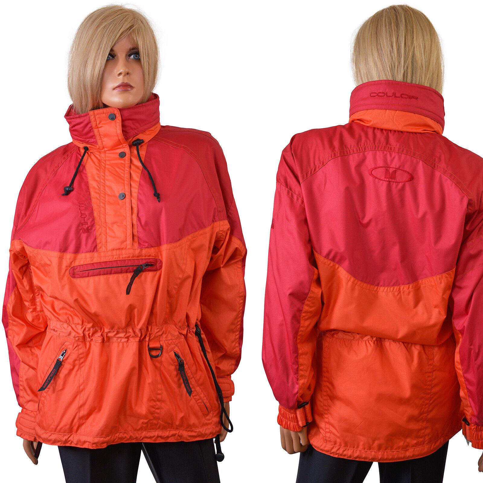 Vintage Couloir SHELL JACKET Technical Ski Coat Womens Orange Colorblock - 8