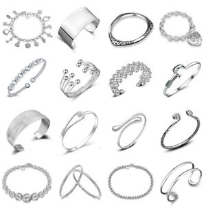 Women-925-Silver-Plated-Beads-Charm-Pendant-Bangle-Chain-Bracelet-Wristband-Gift