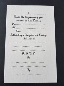 15 Wedding Invitation Inserts For A5 Gate Fold Card Ivory Linen Ebay