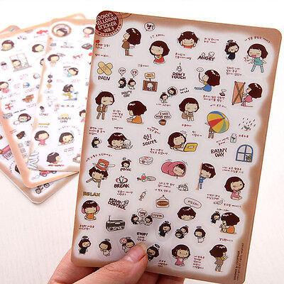 5 sheet Cooky Girl VER.3 calendar Filofax Schedule transparent Diary Sticker