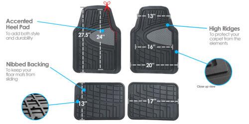 Car Floor Mats for Auto Car SUV 4pc Set All Weather Semi Custom Burgundy Black