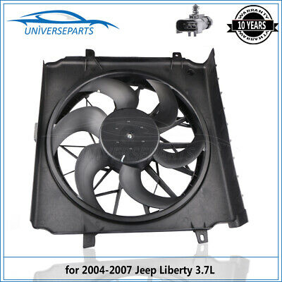 Radiator Cooling Fan Motor Assembly for 04-07 Jeep Liberty 2.4L 3.7L 55037692AB