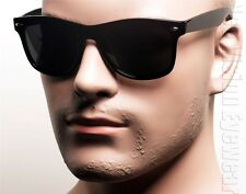 Classic Retro Sunglasses Super Dark Lenses Spring Temples Horn Rimmed Black 3SD