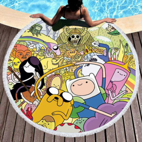Large Round Beach Towel Adventure Time Tassel Yoga Mat Wall Tapestry 59 inch