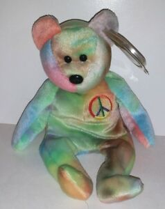 TY BEANIE BABIES PEACE BEAR TIE-DYE RETIRED PLUSH WITH TAG TEDDY ... 2a159c9906bd