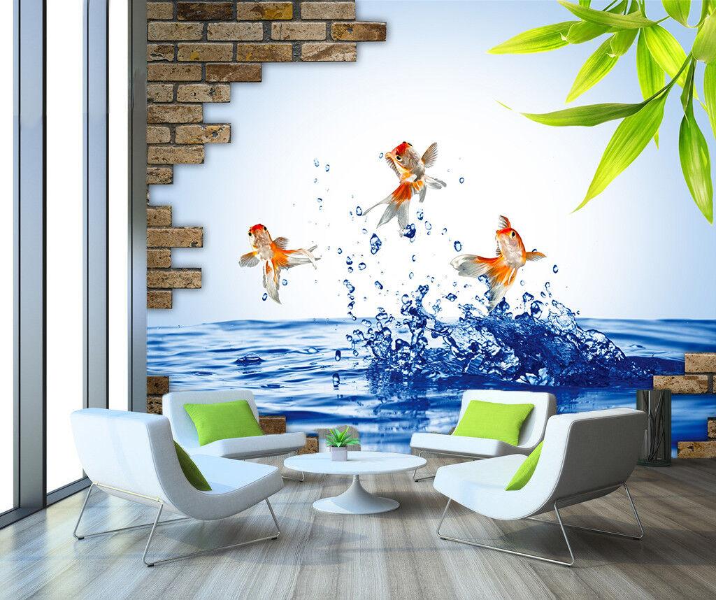 3D 3D 3D Goldfisch Wasser Blätter 983 Tapete Wandgemälde Tapeten Bild Familie DE Jenny | Glücklicher Startpunkt  | Perfekt In Verarbeitung  |  30b3f6