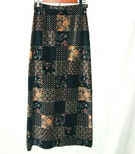 Malbe-Skirt-Vintage-Small-10-Maxi-Patchwork-Velvet-Floral-Hippie-60s-Lined-EUC