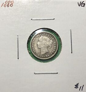 Canada-1888-Five-Cents-Silver-5-Cent-VG