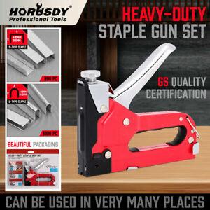 Heavy-Duty-Staple-Gun-Set-Tacker-Hand-2-in-1-1500Pc-Nails-Fastener-Tool-KIt-New