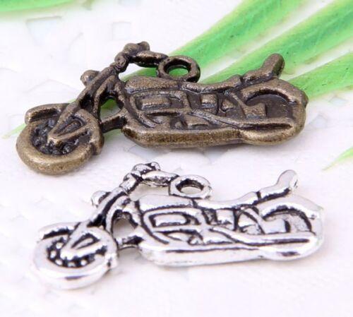 Wholesale 16//38Pcs bronze 、 Plaqué Argent ( Lead-Free ) Moto Charms 25x14mm