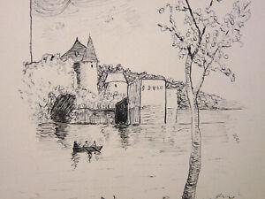 Vue d'un chateau sur laloire ? Dessin signé et daté 1919 barque