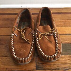 Minnetonka Mens Fleeced Lined Suede Leather Slip On Slipper Shoes Hard Bottom 10