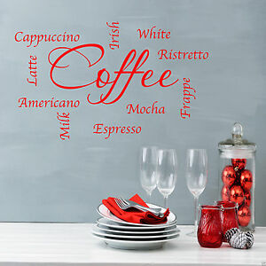 Caffe-Parole-Frasi-Cucina-Wall-Art-Sticker-Salotto-Citazione-Decalcomania-Murale-WSD403