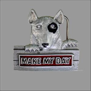 MAKE MY DAY Pitbull Lucky Belt Buckle Hunde Motto Happy Gürtelschnalle  *364