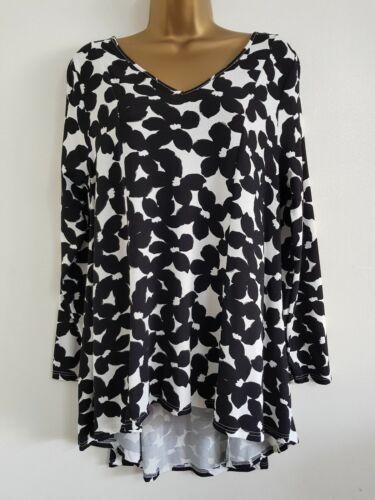Ex EVANS Black /& White Floral Print V-Neck Top Size 16-20