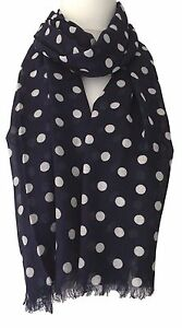 Grey Polka Dot Scarf White Dots Cotton Blend Wrap Fair Trade Spotted Shawl New