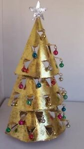 Gold-Tealight-Christmas-Tree-Candle-Holder-with-Bells