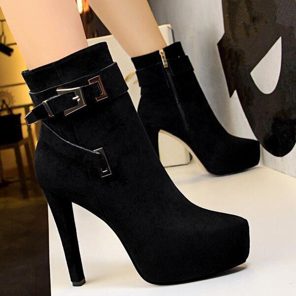 punto de venta botas bajo bajo bajo Zapatos Stiletto 12 Negro Elegantes Piel Sintético 9479  hasta un 65% de descuento