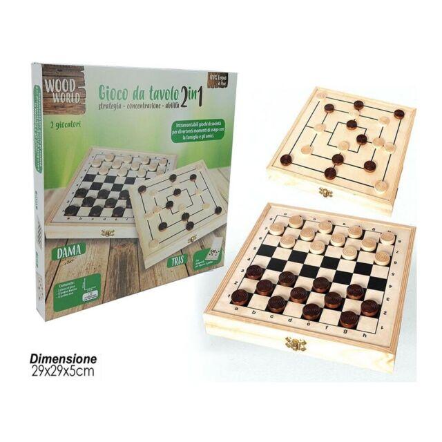 Giocattolo gioco di societa' da tavolo 2 in 1 dama e tris in legno  29x29x5 cm