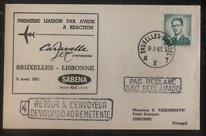 1961-Bruxelles-Belgium-First-Flight-Cover-FFC-To-Lisbon-Portugal-Caravelle-Jet